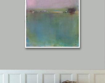Abstract Landscape Print on Paper, Large Paper Print, Minimal, Minimalist Art, Green Pink Art Tan Art Beige Art, Wall Decor, Landscape Art