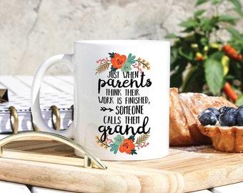 Baby Announcement Grandparent Gifts - Grandpa Mug - Grandma Mug - Baby Reveal To Parents Mug Set - Pregnancy Reveal New Grandparents Gift