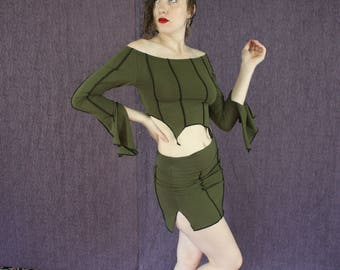 Off the Shoulder Long Sleeve Belly Top in Organic Forest Green Fabric with Vertical Stripes, Classical Elvin Fantasy Style