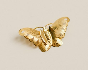 Vintage gold moth brooch with charm attachment, metal butterfly brooch or necklace/ boho, retro, bridal jewelry, summer spring wedding