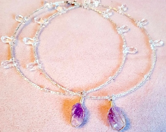 Handmade crystal beaded necklace