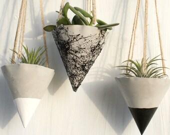 Hanging Planters /Hanging concrete Planters/ Concrete planters/ Hanging Planter/ Hanging pot /Black planters / Marble planters/ Home decor