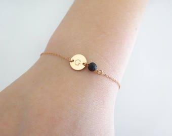 Lava bead bracelet, Personalized disc Initial bracelet, Aromatherapy jewelry, Diffuser bracelet,  Bridesmaid bracelet