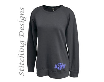 Monogram sweatshirt, Tunic sweatshirt, Monogrammed sweatshirt, Long sweatshirt, Crewneck sweatshirt, Women's sweatshirt - 6 colors aailable