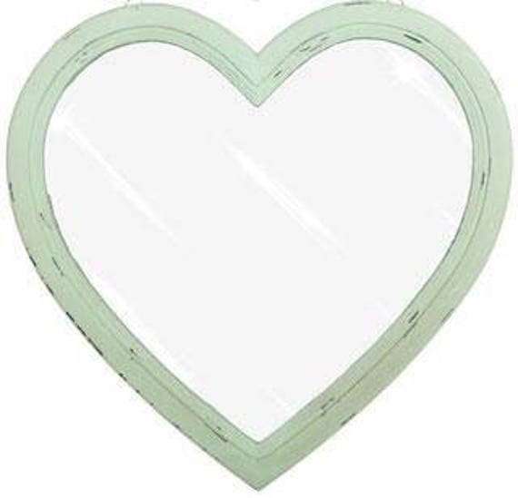 Shabby Chic Mint Distressed Heart Mirror by Etsy