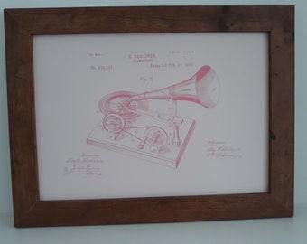 Vintage Gramophone Patent Print Gift
