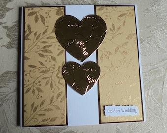 Wedding anniversary card. Golden wedding card. 50th wedding anniversary card. Card for a couple. 50 years married. Happy anniversary card.