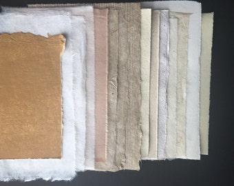 All the Naturals, Half Sheets- sample pack mixed paper, Bhutanese, Nepalese, Indian handmade paper, Thai Mulberry, Hemp, Zerkall