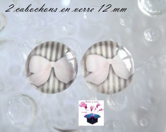 2 glass cabochons 12 mm for loop bow theme