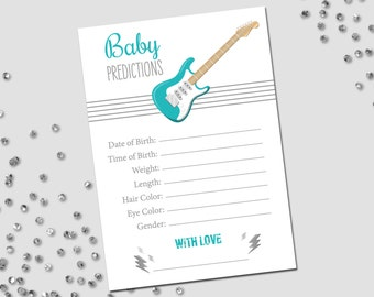 Baby Predictions - Rockstar Baby Shower - Guitar and Lightning Bolts - Stripes - Teal Turquoise Gray Grey - INSTANT DOWNLOAD - Printable