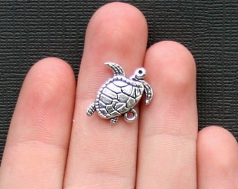 12 Turtle Charms Antique  Silver Tone - SC2206
