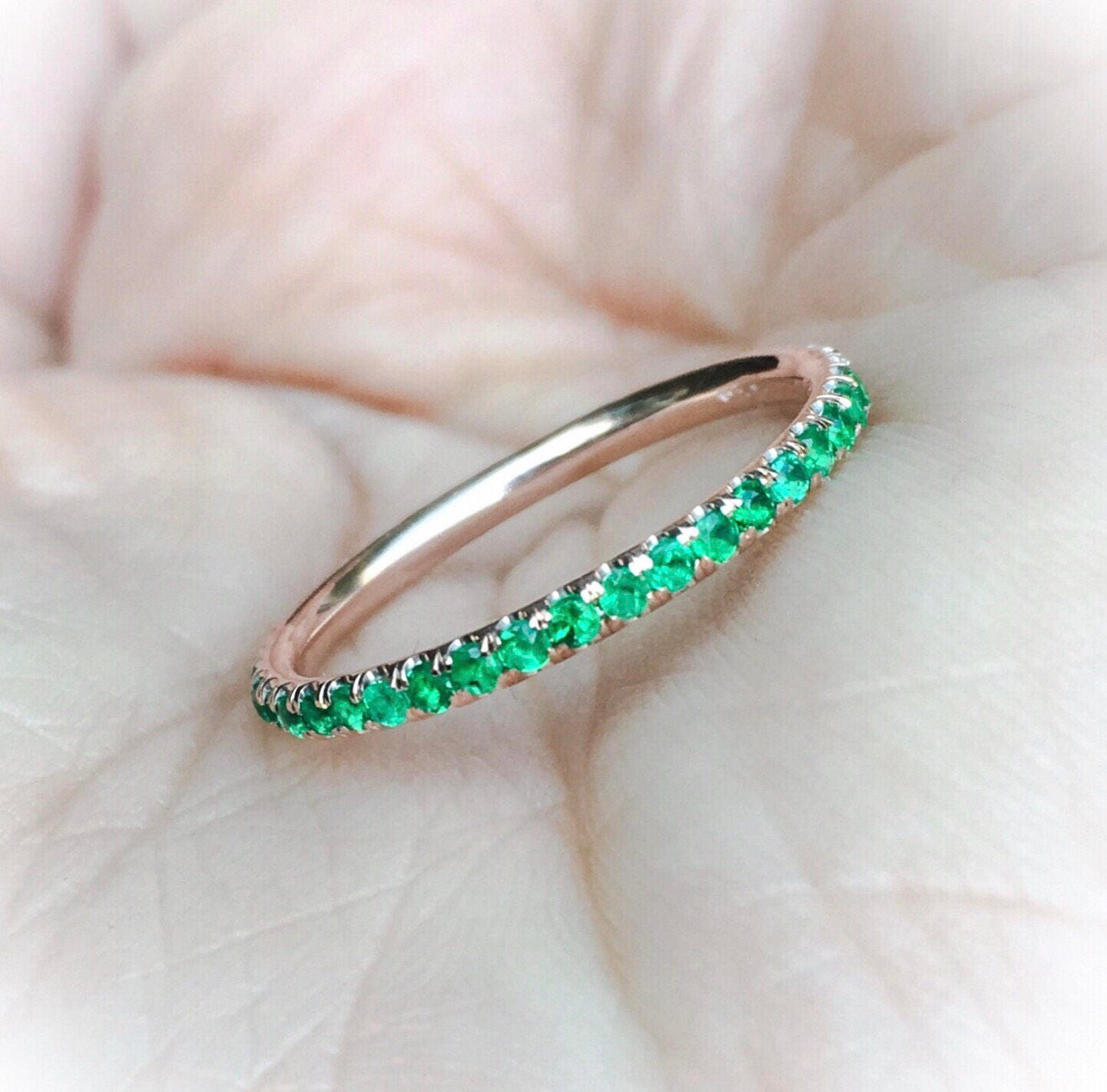Emerald Full Eternity Pave Matching Band 14K Natural Emerald
