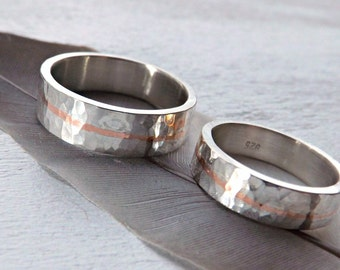 mixed metal wedding band set, unique wedding rings two tone, personalized wedding rings silver hammered, matching ring set his and hers