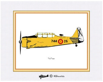 North American T6 Texan, retro aviation color print, watercolor  airplane poster, instant poster airplane, digital aeronautic art, yellow