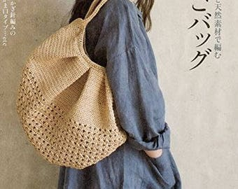 Basketbag knitted with hemp and natural materials - japanese craft book