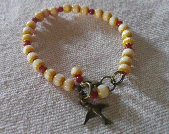 yellow chevron coral brass sparrow - bracelet by Sophia Caramagno
