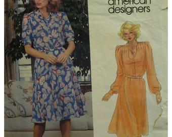 Diane von Furstenberg Shirt Dress Pattern, Tucked Shoulders, Cuffed Sleeves, 80s, Vogue American Designer 2710 Size 10 Cut OR Size 12 UNCUT