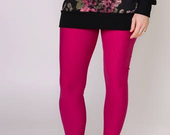 SALE, women's bamboo fleece leggings, pink, size 6, ladies ultra soft warm leggings, ready to ship