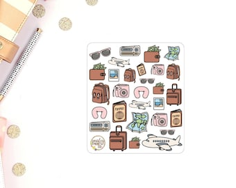 Travel Luggage Map Passport Assorted Travel Themed Planner Stickers