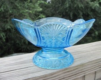 Antique blue glass compote- Hartley- late 1800s- EAPG