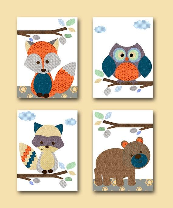 Owl Nursery Fox Nursery Bear Nursery Baby Boy Nursery Decor