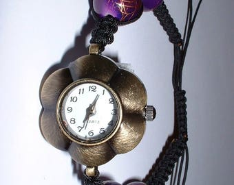 BRONZE flower purple macrame-inspired watch