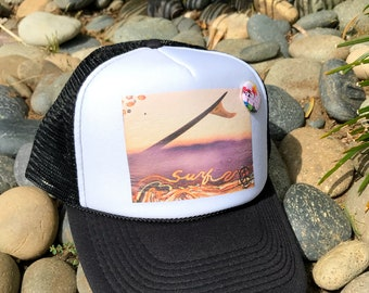 Trucker Hats, SURF WAVELENGTH, limited ed. with custom made Pin Back button, One Size Fits All, foam trucker hat, Beach, Surf, Ocean, waves