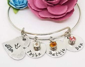 Mothers Day, Mom Jewelry, Charm Bracelet, Custom, Personalized, Grandmother, Nana, Grandchildren, Name Charms, Gift for Her, Mother, Mom