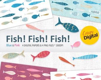 Fish Printables Cute Fish Digital Papers in Blue and Pink 8pcs 300dpi Digital Download, Digital Scrapbooking, Printable Paper