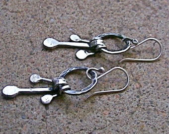 Hammered Sterling Wire Hoops with Silver Dangles, Silver Earrings