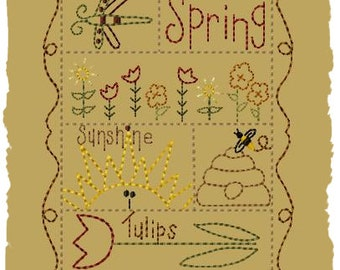 Primitive Machine Embroidery Design-Spring Sampler--Version 2-- (5x7)-INSTANT DOWNLOAD