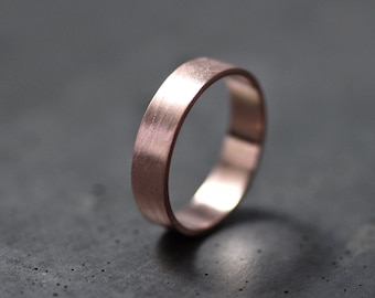 Rose Gold Men's or Women's Wedding Band, 5mm Flat Recycled 14k Red Gold Wedding Ring Rose Eco Gold Ring -  Made in Your Size
