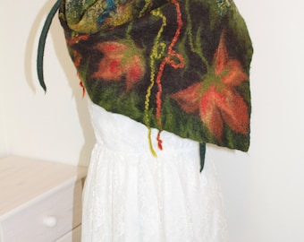 Handmade green - nuno felt scarf, felted wrap with chiffon silk