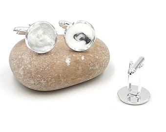 10 cabochons 14mm silver plate cuff links