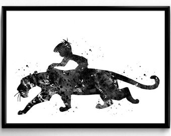 The Jungle Book inspired, Mowgli and Bagheera, Kids Room Decor, Tale, Black and White Watercolor, Print, Wall Art, Poster,  gift (524)