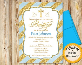 Spanish baptism invitation girl pink watercolor and gold spanish baptism invitation boy baby blue watercolor and gold instant download editable stopboris Gallery