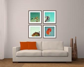 Santa Cruz photography // Santa Cruz art  - Santa Cruz Boardwalk, set of four 16x16s canvas or prints