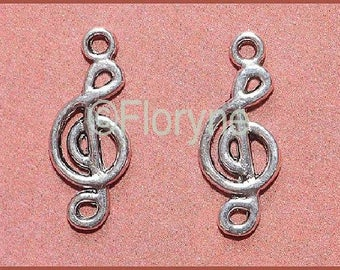 4 charms the treble clef silver metal musicians