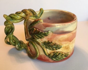 Handmade Ceramic Coffee Mug With Vines And Leaves