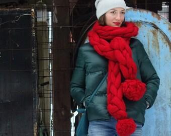 Chunky Knit Scarf,pompom scarf, long wool scarf, Super chunky yarn Scarf, Super bulky Knit Scarf,  Oversized Knit Scarf