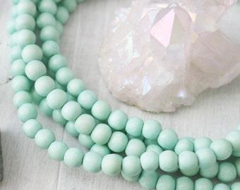 Mint Green Beads, 8mm Mint Beads, Wood Beads, Mint Wood Beads, Jewelry Beads, Bracelet Beads, Mint Beads, Mint Green, Wood Rounds,