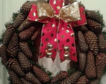 Christmas Pinecone Wreath, Pinecone Wreath, Outdoor Winter Wreath, Indoor Wreath, Winter Pinecone Wreath