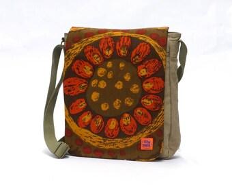 Vintage Fabric Upcycled Canvas Messenger Bag - Retro Crossbody Bag  - Canvas Shoulder Bag by EllaOsix -