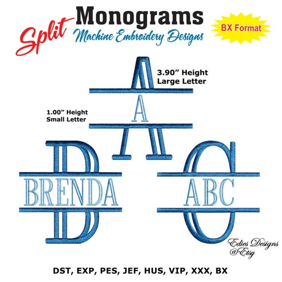 Split monograms machine embroidery designs monograms fonts bx for Embroidery office design version 9