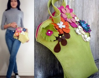 SALE Leather Flower Basket Wristlet Bag made from Soft Italian Suede from a Victorian Pattern - Romantic - Handbag - Spring Bag, Stacy Leigh