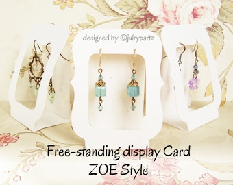 20•Zoe Window•2.5 x 3.25 Free-Standing•EARRING CARDS•Jewelry cards•Earring Display•Earring Card•Earring Holder•Boutique Supply
