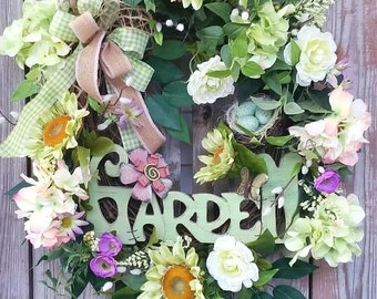 Spring Wreath-Shabby Chic Wreath-Front Door Wreath-Welcome Sign Wreath-Summer Wreath-Spring Door Wreath-Summer Door Wreath-Shabby Chic Decor
