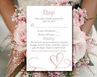 "Wedding RSVP Template - Heart Response Card - Printable Wedding RSVP Card ""Love"" Script Blush RSVP Instant Download"
