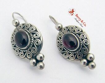 SaLe! sALe! Vintage Ornate Earrings Sterling Silver Garnet