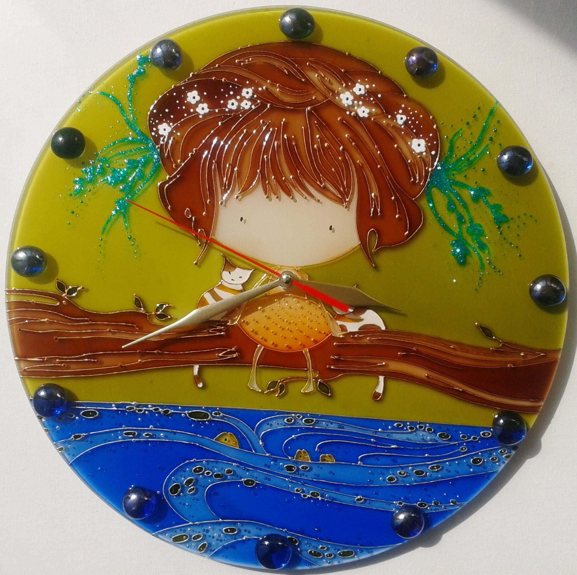 Stained glass painting Glass wall clock Fisher